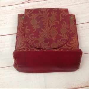 Vintage Boho Style Red Print Faux Leather Purse